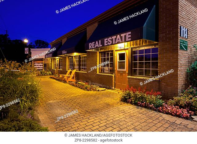 Richard Wallace Real Estate in downtown Port Carling at dusk. Ontario, Canada