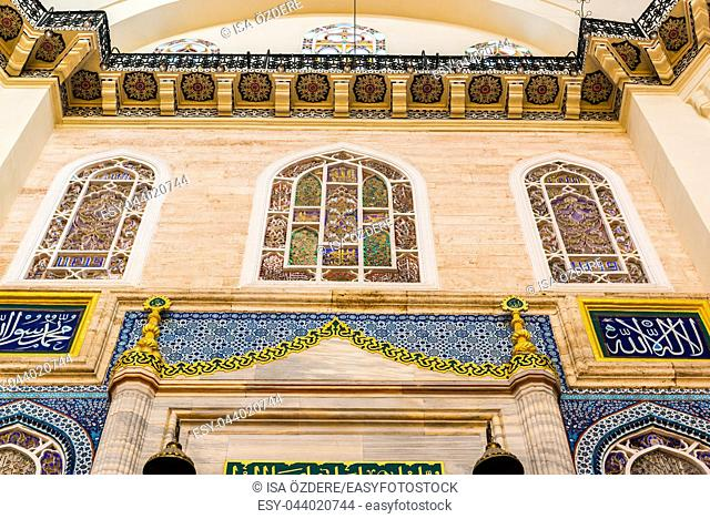 Interior decoration and artworks of Suleymaniye mosque. Walls,Ceiling and domes decorated with Islamic elements and designed by Ottoman architect Sinan