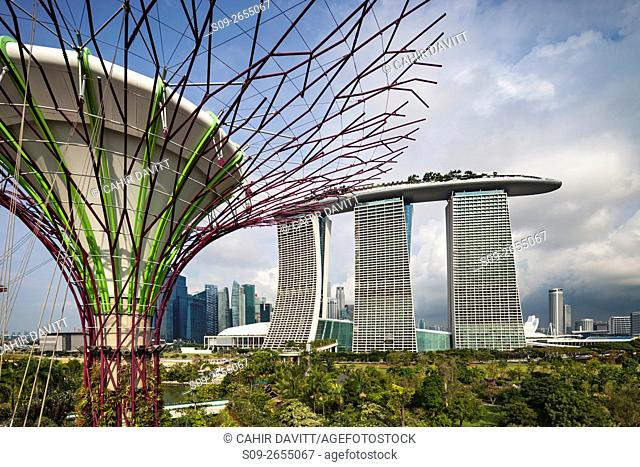Supertree Grove and the Marina Bay Sands Hotel & Shopping Centre in the Gardens by the Bay, Marina South, Singapore