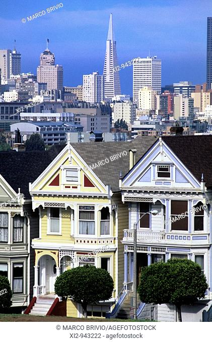 Old victorian houses called the Painted Ladies and the San Francisco Skyline in California