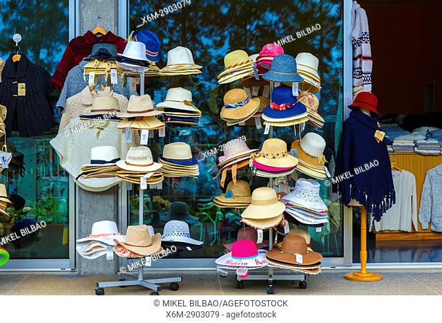 Hats in a gift shop. Madeira Botanical Gardens. Funchal. Madeira, Portugal, Europe
