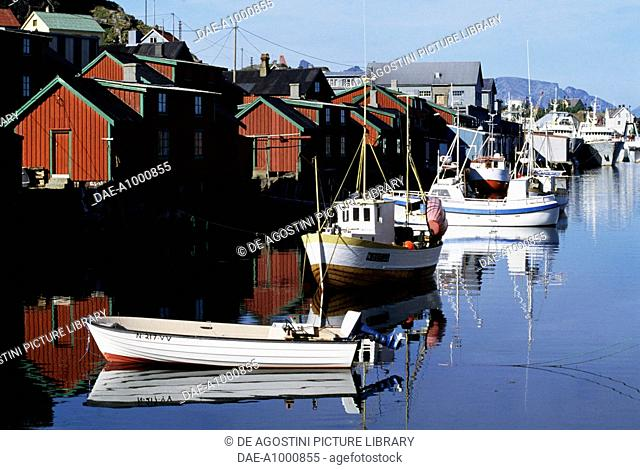Stamsund harbour, Vestvagoy, Lofoten Islands, Nordland County, Norway