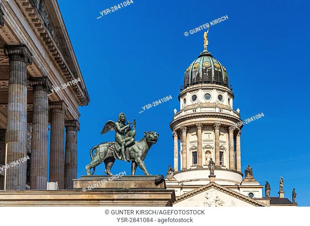 The French Cathedral (Franzoesischer Dom) is located on the Gendarmenmarkt in the Berlin district of Mitte. It was built from 1701 to 1705, Berlin, Germany