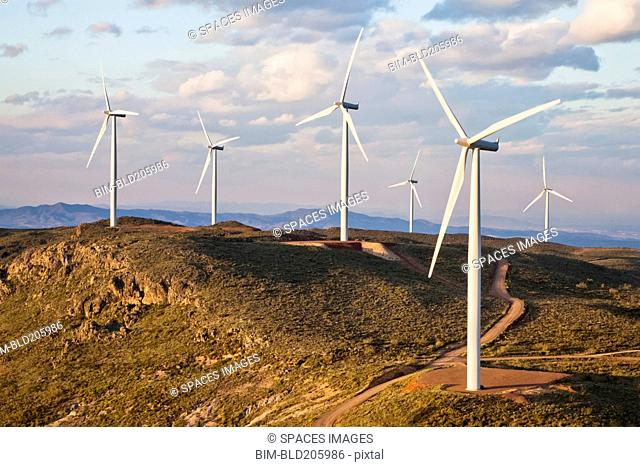 Wind turbines on hilltop