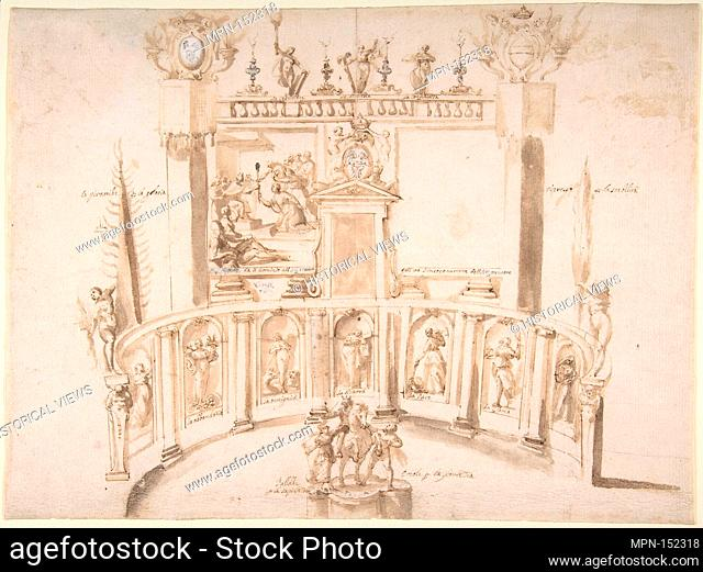 Design for a Garden Fête with a Semi-circular Wall and Statues in Niches. Artist: Francesco Allegrini (Italian, Cantiano (?) 1615/20-after 1679 Gubbio (?));...