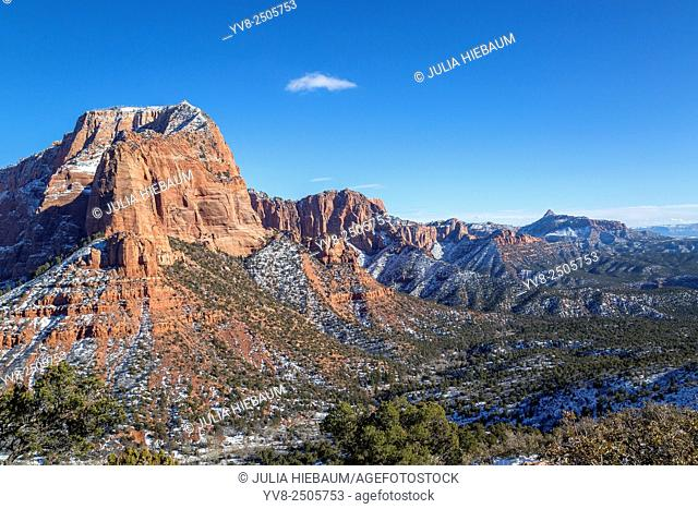 Red rock snow-capped mountains in Utah