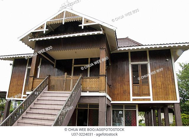 A wooden bungalow at the Museum Kalimantan Barat, Pontianak, Indonesia