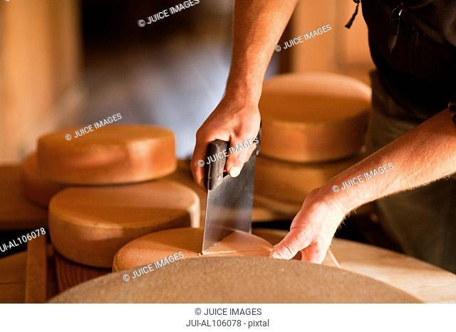 Close-up of man cutting cheese in Oberstaufen, Allgau, Bavaria, Germany