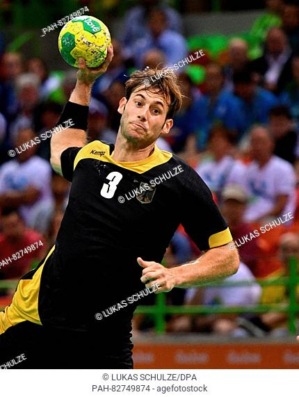 Uwe Gensheimer of Germany during Men's Preliminary Group match between Slovenia and Germany of the Handball events during the Rio 2016 Olympic Games in Rio de...