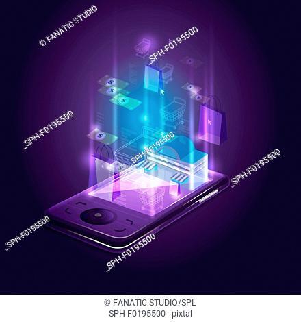 Illustration of smart phone depicting online shopping