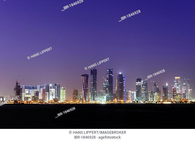 Skyline of Doha, West Bay District, Doha, Qatar Peninsula, Arabian, Persian Gulf, Middle East, Asia