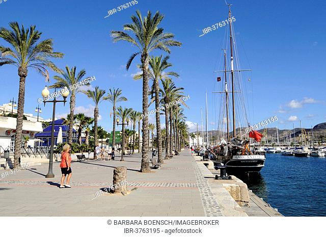 Promenade, harbour, Cartagena, Murcia Region, Spain