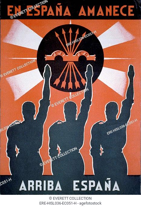 IN SPAIN IT IS DAWNING -- ARISE SPAIN. Spanish Civil War poster presenting Nationalist pro-Franco propaganda. Poster depicts three men saluting the right-wing...
