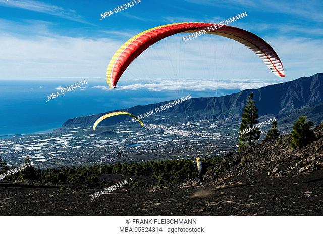 Paraglider start in the El Gallo in the Caldera volcano scenery, La Palma west coast, aerial picture, Canary islands, Spain