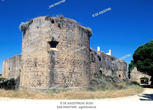 Circular tower on the perimeter walls, Castle of Vila Vicosa, Alentejo. Portugal, 13th century
