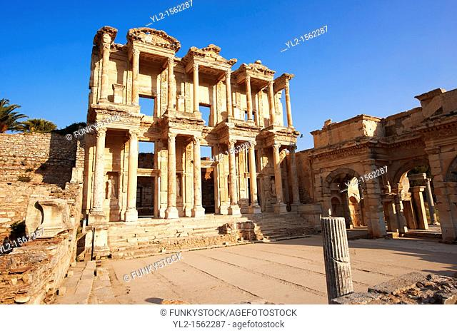 Photo of The library of Celsus  Images of the Roman ruins of Ephasus, Turkey  Stock Picture & Photo art prints 4