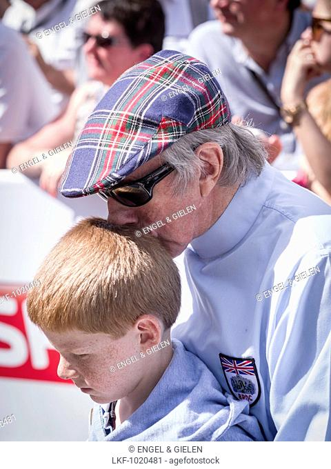 Sir Jackie Stewart and grandson, Goodwood Festival of Speed 2014, racing, car racing, classic car, Chichester, Sussex, United Ki