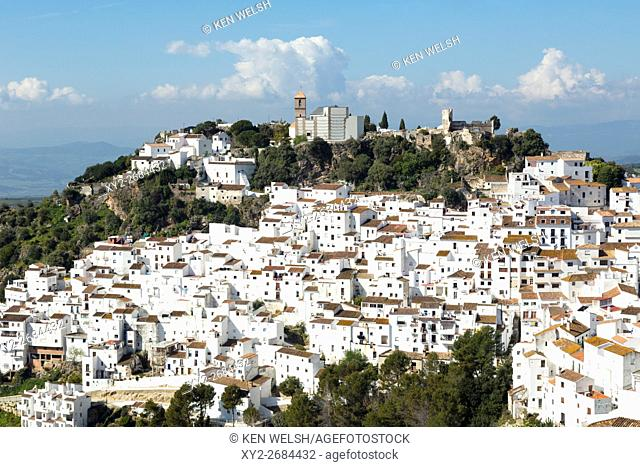Casares, Malaga Province, Andalusia, southern Spain. Overall view of town