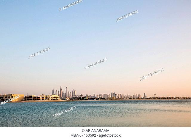 United Arab Emirates, Skyline of Dubai, taken from the palm area, sky, copy space