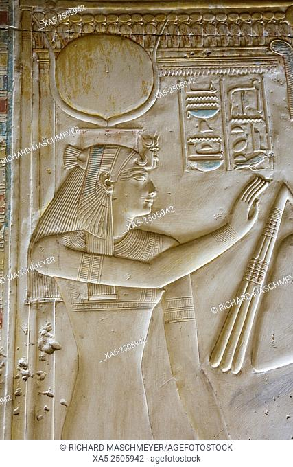 Bas-relief of the Goddess Hathor, Temple of Seti I, Abydos, Egypt