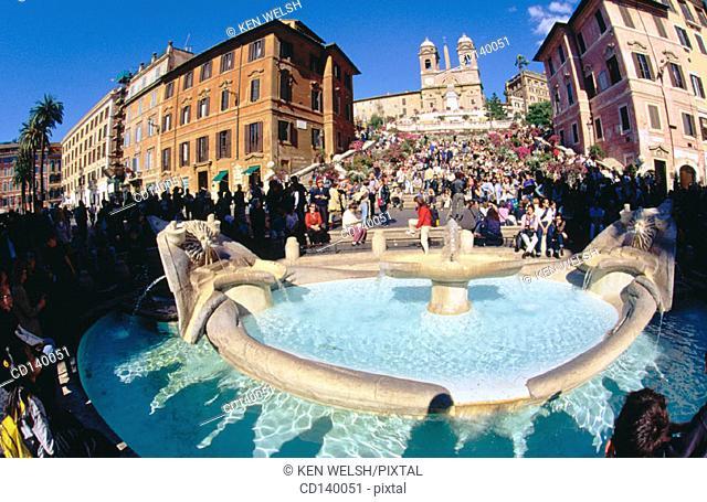 Piazza di Spagna and Church of Trinita dei Monti church. Rome. Italy
