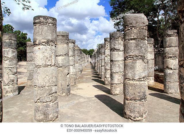 Mayan Chichen Itza Mexico thousand columns temple in Yucatan