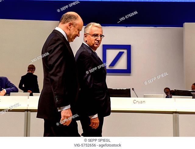 Germany, Frankfurt, 18.05.2017 Vorstandsvorsitzenden John CRYAN (li) und Aufsichtsratsvorsitzender Paul Achleitner, vor der Hauptversammlung - Frankfurt