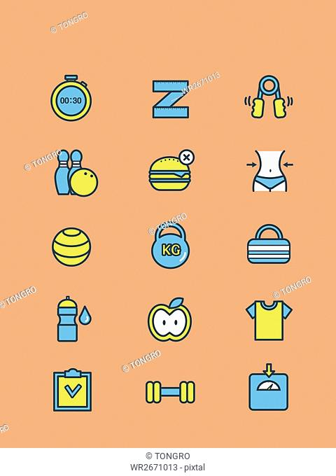 Various line icons related to diet