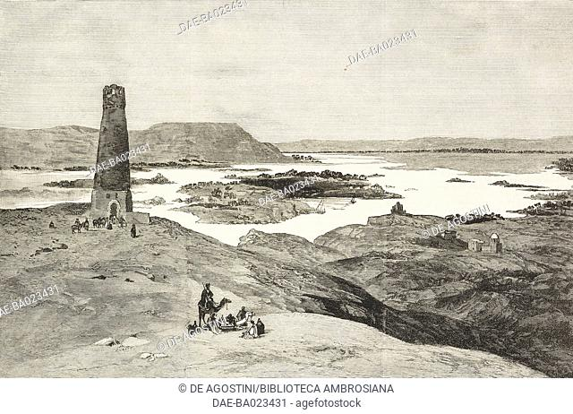 The heights above Aswan, with the island of Elephantine, Egypt, illustration from the magazine The Graphic, volume XXIX, n 751, April 19, 1884