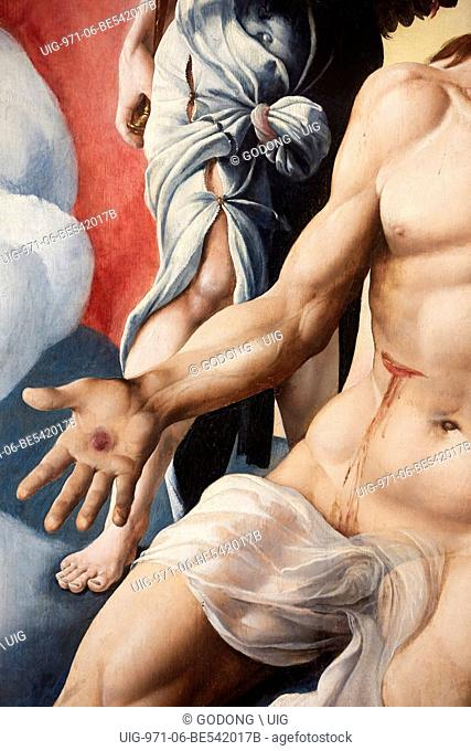 Christ in pain by Maarten van Heemskerck (1532). Detail. Musee des Beaux-Arts de Gand (Ghent Fine Art Museum)