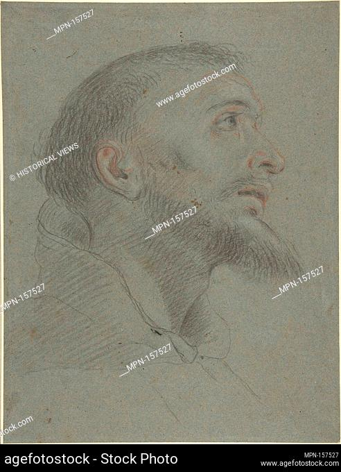 Bust-Length Study for the Head of Saint Francis in Near Profile Facing Right. Artist: Anonymous, Italian, Bolognese, 17th century; Date: 17th century; Medium:...