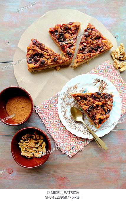 Four pieces of nut cake with dried fruits