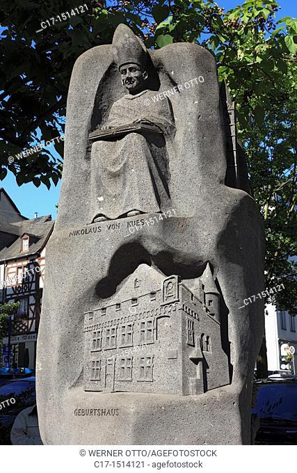 Germany, Koblenz, Rhine, Moselle, Maifeld, Eifel, Hunsrueck, Westerwald, Rhineland-Palatinate, monument to cardinal Nicholaus of Kues, relief stele