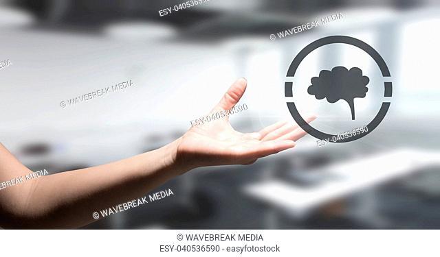 Brain icon and hand reaching