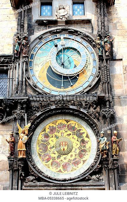 Czech Republic, Prague, city hall clock, detail