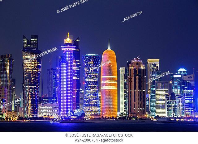 Qatar , Doha City, The Corniche , West Bay Skyline at sunset