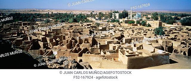 Old city at Ghat oasis. Fezzan region, Sahara desert. Libya