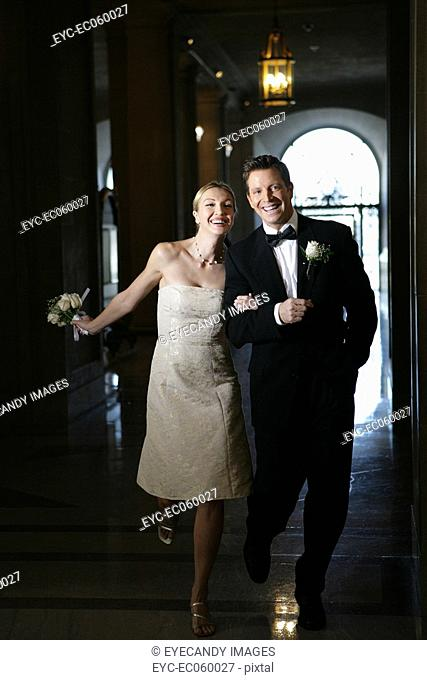 Happy boomer couple walking