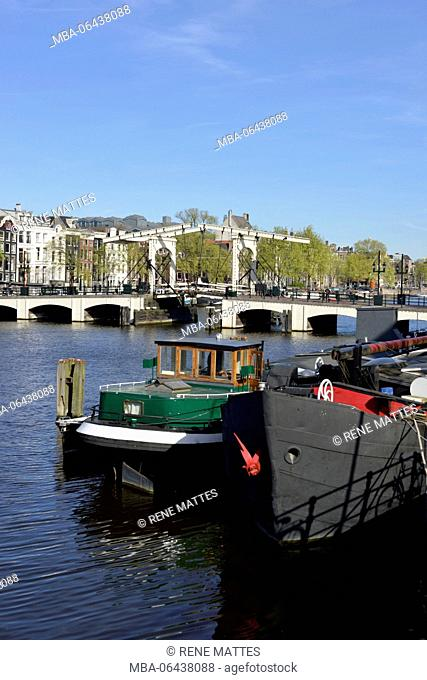 Netherlands, North Holland / Noord-Holland, Amsterdam, Magere Brug over Amstel River