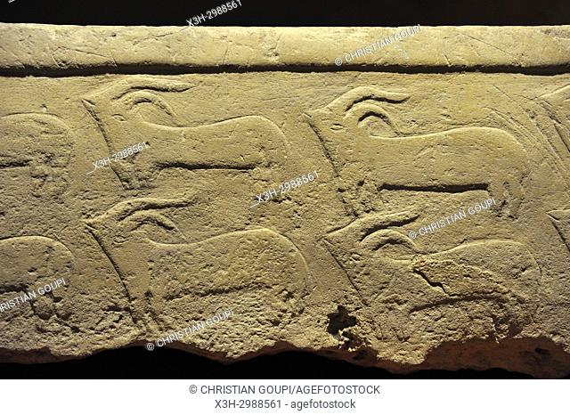 carved frieze on a stone coffin, National Museum of Archaeology housed in Auberge de Provence, Valetta, Malta, Mediterranean Sea, Southern Europe