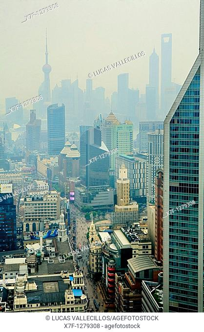 China Shanghai: Skyline  At left Oriental Pearl Tower  At righ Jin Mao Building and Shanghai World Financial Center SWFC