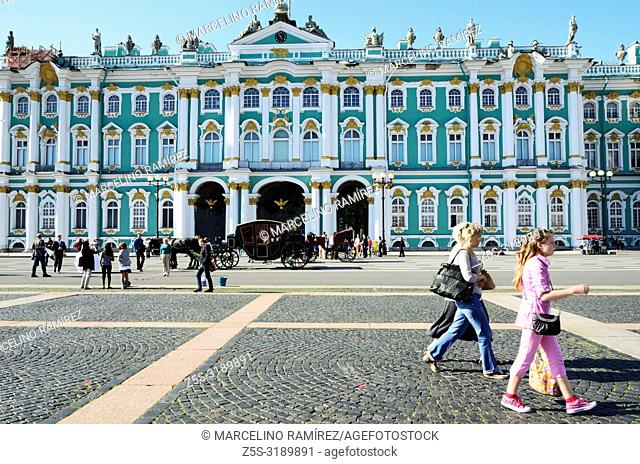 The Winter Palace facade. The Winter Palace was the official residence of the Russian monarchs. Today, the restored palace forms part of a complex of buildings...