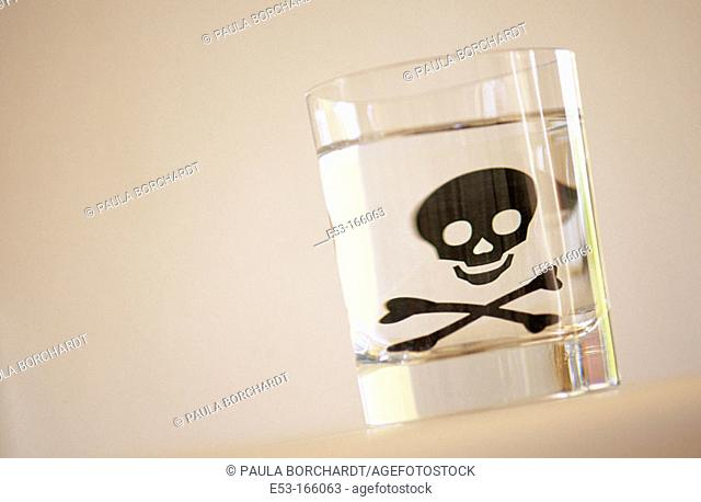Skull and crossbones in glass of water