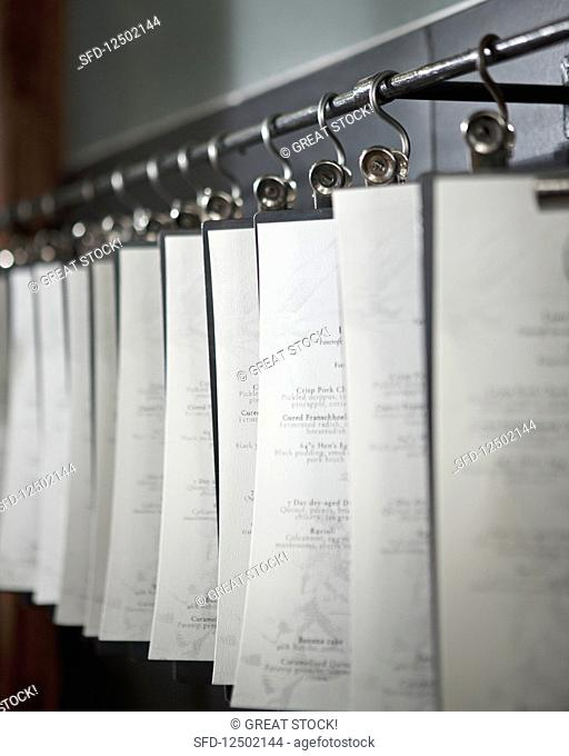 Menus hanging in a restaurant