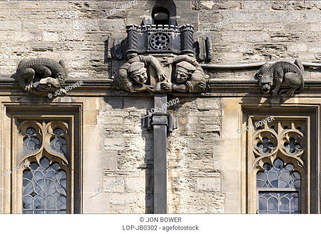 England, Oxfordshire, Oxford, Gargoyles and drains at Brasenose College. The college was originally called Brazen Nose College