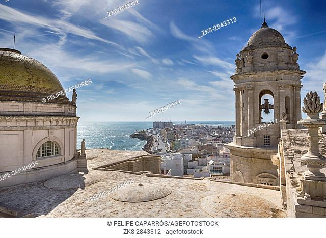 Cadiz Spain- March 31: This bell tower and statues in the roof of the Cathedral of Cadiz, completed in the nineteenth century is located very close to the sea