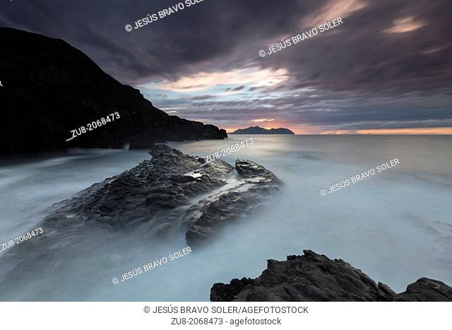 Cebollero Cape Cliffs in Sonabia, Oriñon, Cantabria Spain. The waves break hard during bad weather