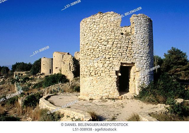 Windmills in Montgo Natural Park. Alicante province. Comunidad Valenciana, Spain