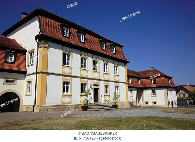 Wasserschloss Gleisenau moated castle, Hassberge district, Lower Franconia, Bavaria, Germany, Europe