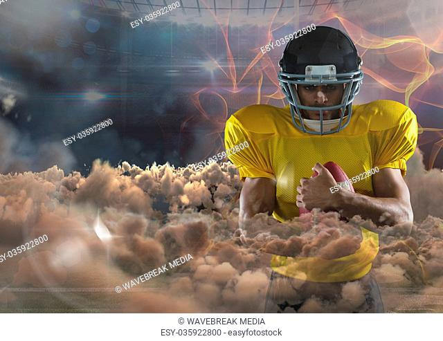 american football player with fire background